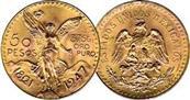 50 Mexican Pesos Centenario 1821-1947 Coin Pendant in 14k Rope Chain Bezel